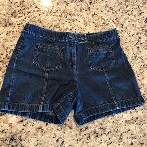 Ann Taylor Loft Denim Jean Shorts Dark Wash Sz 10